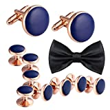 Mens Cufflinks and Studs Set Tuxedo Stainless Steel with Bowite Blue Classic Wedding Business