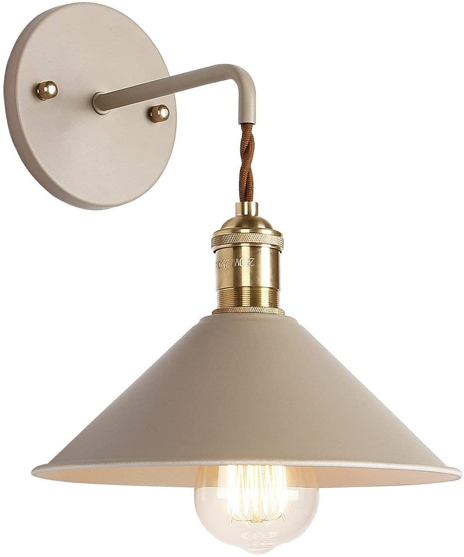 iYoee Wall Sconce Lamps Lighting Fixture with on Off Switch,Khaki Macaron Wall lamp E26 Edison Copper lamp Holder with Frosted Paint Body Bedside lamp Bathroom Vanity Lights
