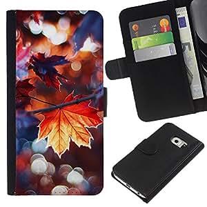 iBinBang / Flip Funda de Cuero Case Cover - Lluvia de otoño dom árbol Naturaleza - Samsung Galaxy S6 EDGE SM-G925