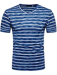 Men's 2018 New Style Summer Casual Stripe Print V Neck Pullover T-Shirt Top Blouse