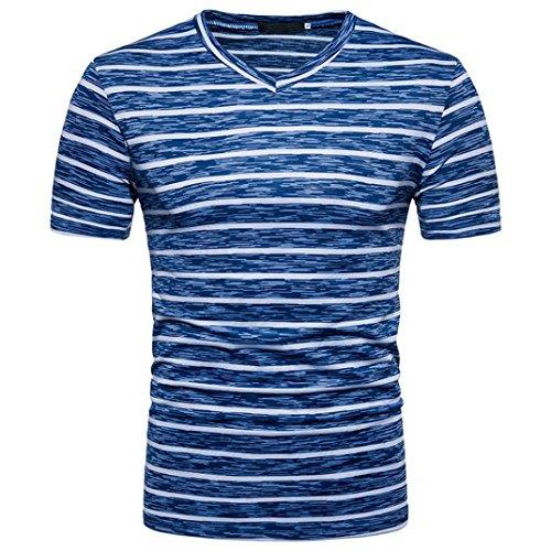 (GREFER Men's 2018 Summer Casual Stripe Print V Neck Pullover T-Shirt Top Blouse (M, Blue))
