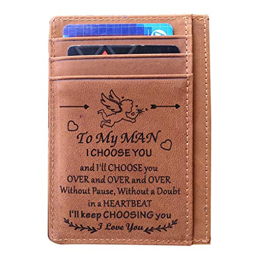 Engraved Card Holder Minimalist Wallet To My Son Dad Husband, Personalized Gift Slim Cards Case (MAN-2) (Best Gift For Valentines To A Boyfriend)