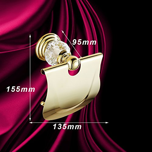 AUSWIND Antique Gold Toilet Paper Holder Brass&Crystal Wall Mounted Bathroom Accessory XH by AUSWIND (Image #5)