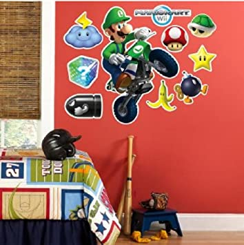 Luigi Super Mario Kart Riesen Xxl Wandtattoo Set Mega Wandsticker
