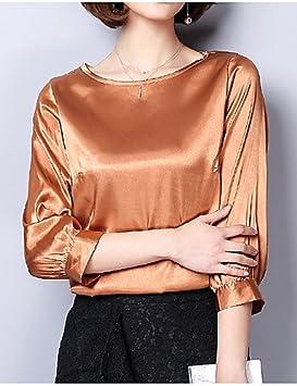 ligaosheng Mujer Noche Estilo Moderno Blusa Un Color/Satén, XXL
