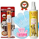 Complete Pet Grooming Kit Includes No Rinse Shampoo Burts Bees Waterless Pet Shampoo, Pet Brush Mit For Dogs And Cats And Bonus Pedicure Nail Trimmer