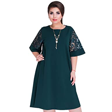 CUIGU 2018 Splice Loose Lace Summer Dresses Plus Size Women Knee-Length  Office Dress ( 709ccdb51521