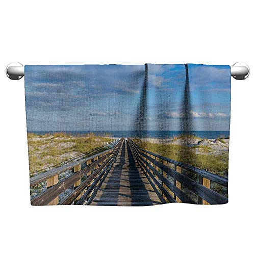 duommhome Seaside Decor Collection Water-Absorbing Bath Towel Deck to The Alabama Gulf Coast Timber Honeymoon Travel Destinations Summer Image W14 x L27 Blue Green Ivory ()