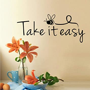 Fushoulu 17x43 Cm Take It Easy Quotes Pegatinas De Pared Lindo