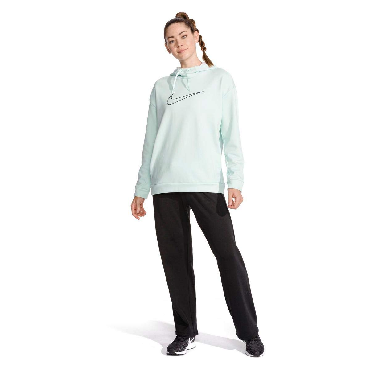 Nike Women's Therma Swoosh Fleece Training Hoodie Igloo/Heather/Obsidian Size Small