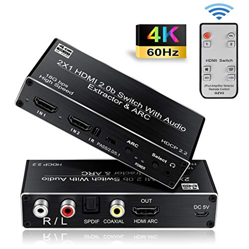 HDMI Switch 2x1 4K@60HZ, avedio links HDMI Switcher 2 in 1 Out with Optical/Coaxial/3.5mm/R/L Audio Out, 2-Port HDMI Audio Extractor Support ARC,HDMI2.0b, HDCP 2.2,RGB4:4:4(with IR Remote)
