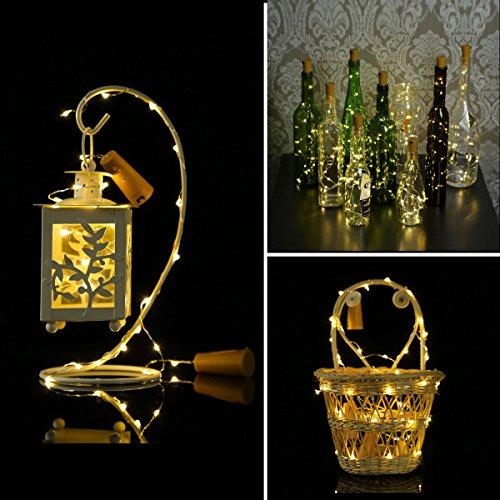 Wine Bottle Lights with Cork, LED Bottle Lights, LED Cork Lights, Copper Wire Bottle Lights, Bottle Cork String Lights for DIY, Party, Decor, Christmas, Halloween, Wedding, Warm White, 6 Pack