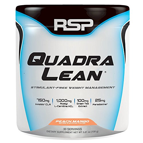 RSP QuadraLean Stimulant Free Fat Burner Powder, Weight Loss Supplement, Appetite Suppressant & Metabolism Booster, Diet Powder for Men & Women (Peach Mango, Powder, 30 Servings)