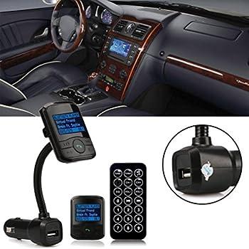 Bluetooth and FM transmitter,Basda LCD Car Kit MP3 Bluetooth Player FM Transmitter Modulator SD MMC USB Remote(1 year warranty) (Black)