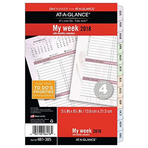 AT-A-GLANCE Day Runner Weekly / Monthly Planner Refill, Loose Leaf, January 2018 - December 2018, 5-1/2