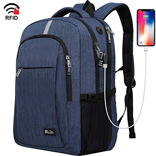 Travel Laptop Backpack with USB Charging Port, Raydem 17.3 Inch Water Resistant School Backpack Business Laptop Bag, TSA Friendly Computer Backpack Anti Theft Carry on Bookbags for Women Men, Blue