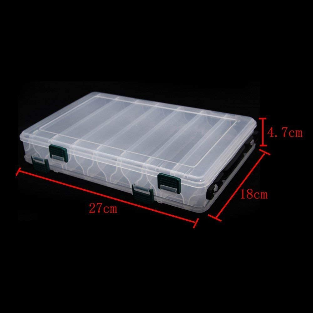 1 pc Transparent Waterproof 3 Latches Plastic Fishing Lure Box Storage Box