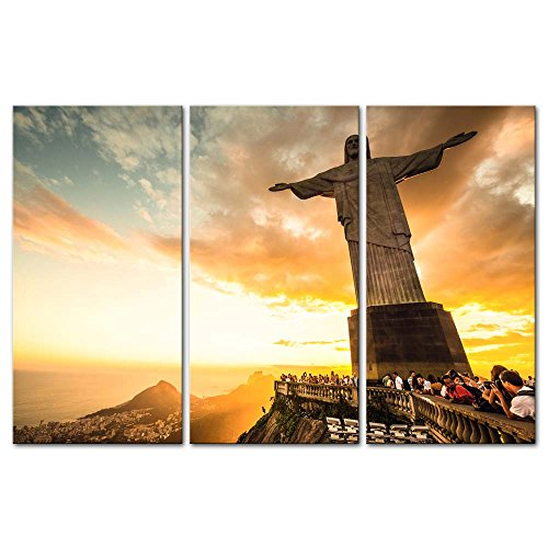 3 Pieces Modern Canvas Painting Wall Art The Picture For Home Decoration Christ The Redeemer Statue At The Top Of Corcovado Mountain In Rio De Janeiro Portrait Statue Print On Canvas Giclee Artwork For Wall Decor (Christ Rio Redeemer Statue)