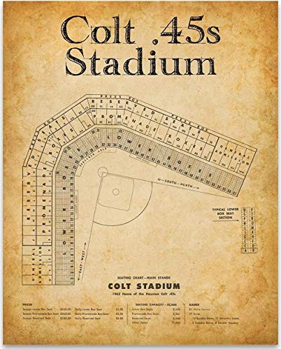 Colt 45s Baseball Stadium Seating Chart - 11x14 Unframed Art Print - Great Sports Bar Decor and Gift Under $15 for Baseball Fans (Youth Baseball Wood Series Bat)