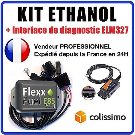 KIT Ethanol Flex Fuel - E85 - Bioethanol - 4 cylindres + Interface de Diagnostic ELM327 USB. Compatible avec Peugeot, Citroën, BMW, Renault, Audi, VW, ... (Connecteurs Bosch EV1)