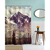 Alps Snow Peak in Bright Sun Shower Curtain, Dark Olive Green Grassed Covering Chain of Mountains on Waist Tall Straight Pine Trees on the Foot Vast Landscape Nature Scenary Bathroom Decorating Curtain