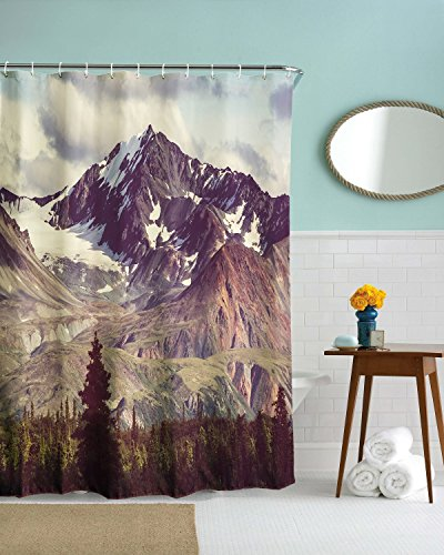 DENGYUE Alps Snow Peak in Bright Sun Shower Curtain, Dark Olive Green Grassed Covering Chain of Mountains on Waist Tall Straight Pine Trees Vast Landscape Nature Scenary Decorating - Mountain Square Shower