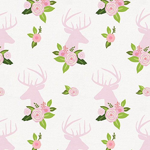 Carousel Designs Pink Floral Deer Head Fabric by the Yard
