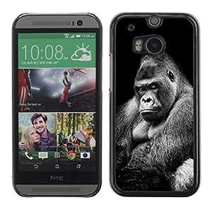 Caucho caso de Shell duro de la cubierta de accesorios de protección BY RAYDREAMMM - HTC One M8 - Ape Gorilla Black White Meaning