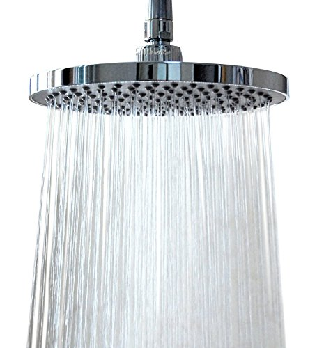 WantBa 8'' Wide (157 Jets) Rainfall Wall Mount Shower Head with Showerhead Swivel Metal Ball Connector Polished Chrome by WantBa