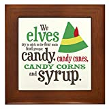 CafePress Elf Candy Syrup - Framed Tile, Decorative Tile Wall Hanging
