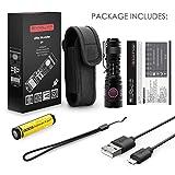 Evolva Future Technology Rechargeable Flashlight USB Mini Pocket Torch E9 Little Monster (1 pack - Black)