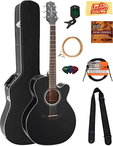 Takamine GN30CEBLK NEX Cutaway Acoustic-Electric Guitar – Black Bundle with Hard Case, Cable, Tuner, Strap, Strings, Picks, Austin Bazaar Instructional DVD, and Polishing Cloth