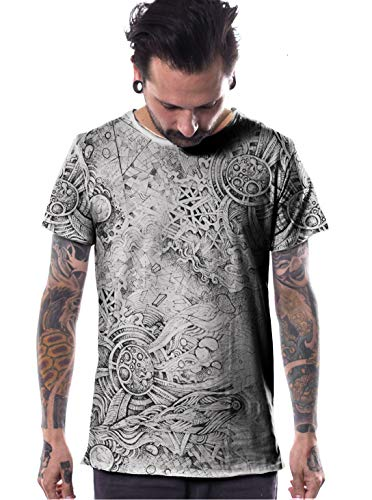 (Men's Full Print T-Shirt Raw Cut Edges - in House Street Art Quality Cotton Top- in Light Grey - Large)