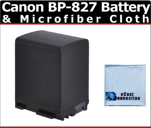 BP-827 Li-Ion Rechargeable Camcorder Battery for Canon VIXIA HF G10, HF S30, HF M32, HF M40, HF M41, HF M400 & More + Microfiber Cloth