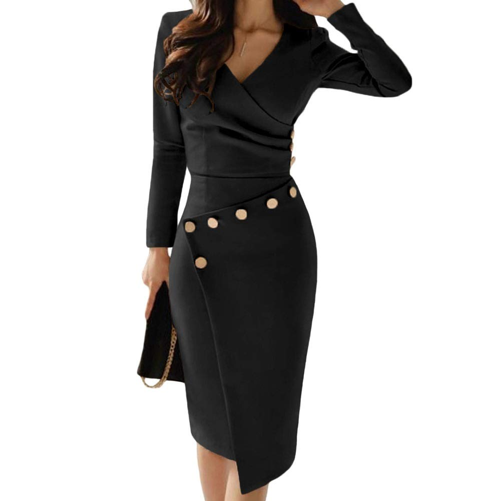 1 DingXW Sexy VNeck Fold Asymmetry Solid color Splice High Waist Long Sleeve Polyester Tight Fitting Leisure Women Dress (color   1, Size   S)