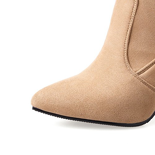 Pointed On Heels Imitated Women's Boots Pull Solid Toe Khaki Suede AgooLar High qEX8xx
