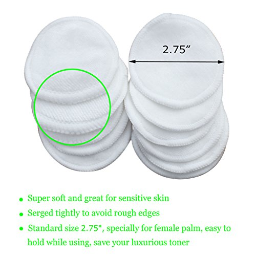 12 Pack Bamboo Reusable Makeup Remover Pads, Facial Pads Cleansing Wipe Face Sensitive Skin - Laundry Bag and Storage Bag by Vingotory (Image #1)