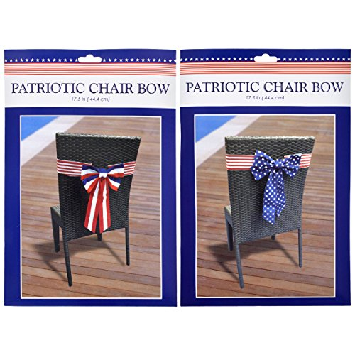 (Large Americana Chair Bows for Patriotic Decor Pew Bows Red White Blue Stars and Stripes Bundle of 2)