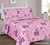Kids printed sheet set: Flat & fitted sheets with pillow cases. Choose from butterfly, Dinosaur, Shark, Princess, sports, sailor prints Twin or Full (Twin, Princess Palace)