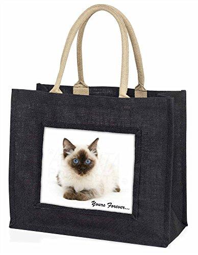 Advanta–Große Einkaufstasche Ragdoll Cat Yours Forever Große Einkaufstasche Weihnachtsgeschenk Idee, Jute, schwarz, 42x 34,5x 2cm