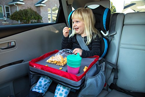 Kids E-Z Travel Lap Tray, provides organized access to drawing, snacks and activities for hours on-the-go (Red/Gray, 15X12X3 in.)
