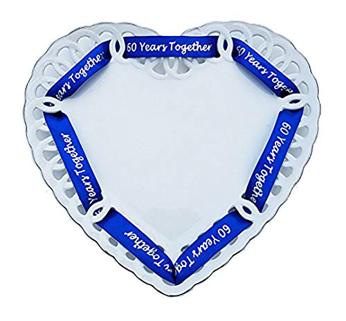 60th Anniversary Plate - Porcelain Heart Shaped Plate for 60th Anniversary Gift