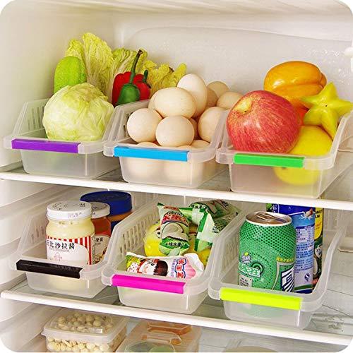 Bonaweite 6Pcs Transparent Drawer Storage Box Utility Plastic Baskets Organizer Shelf for Kitchen Bathroom Refrigerator
