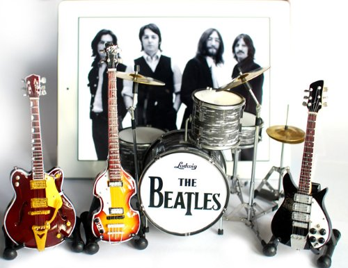 (The Beatles Fab Four Miniature Guitar and Drums Set of 4 - Ringo Starr, John Lennon, Paul McCartney, George Harrison)