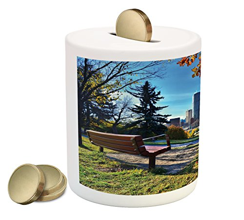 City Coin Box Bank by Ambesonne, Park Bench Overlooking the Skyline of Calgary Alberta During Autumn Tranquil Urban, Printed Ceramic Coin Bank Money Box for Cash Saving, Multicolor (Gift Boxes Calgary)