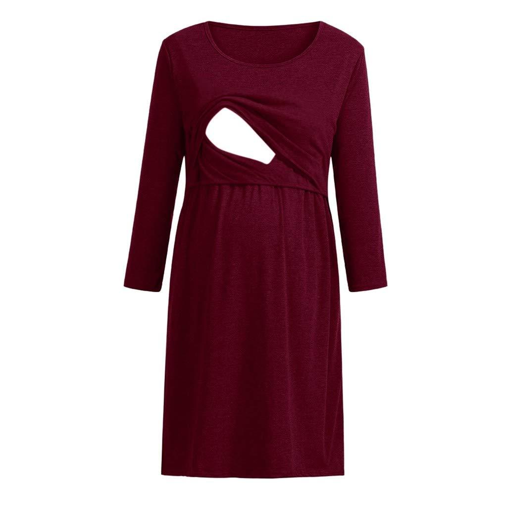 Maternity Breastfeeding Dress, Women Solid Round Neck Long Sleeve Layered Midi Nursing Dress (L, Wine)