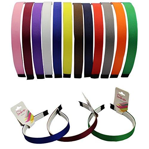Satin Headband - 12 Hard Headbands - Ribbon Hairband for Women by CoverYourHair (Adult Headbands)