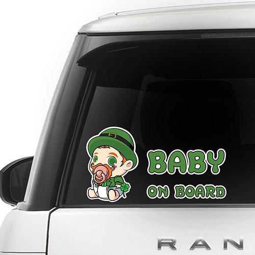 [CUSTOMI] Leprechaun Baby on Board ENG-LEPRECHAUN-001 - Full Color Car Window Safety Sign Decal Sticker - Green, Orange