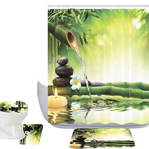 Theme Decor View Japanese Design 16 Piece Bathroom Mat Set Shower Curtain Set Relaxation Bamboos Candles Bath Mat Contour Mat Toilet Cover Mildew Resist Shower Curtain and 12 Hooks ()