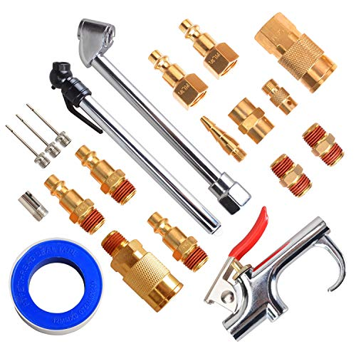 FYPower 20 Pieces 1/4' NPT Air Compressor Accessory Kit with Blow Gun, Air Chucks, Brass Fittings and Inflation Needles